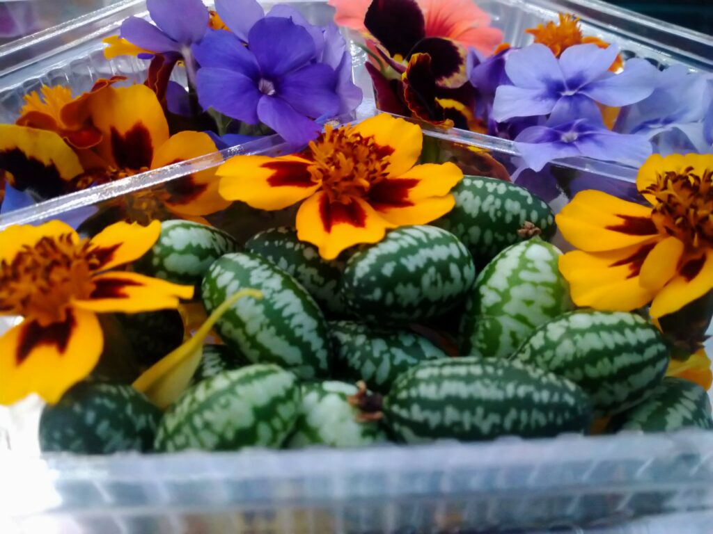 Locally grown products, Edible Flowers and Cucamelons